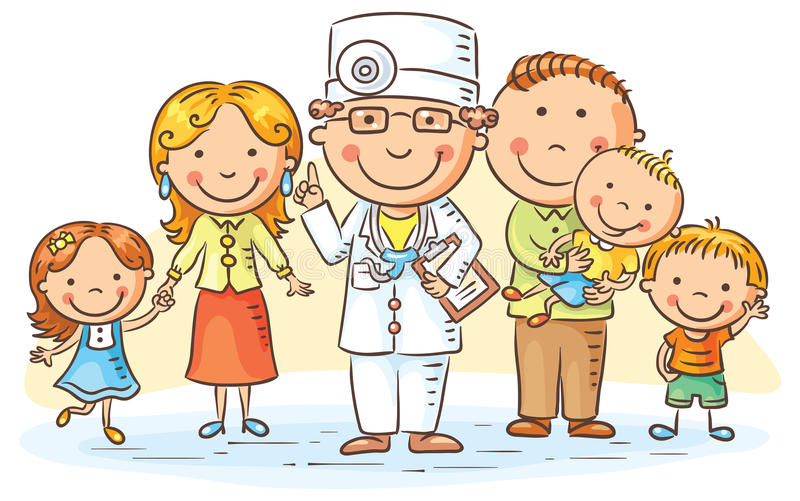 Médecin de famille de bande dessinée illustration libre de droits