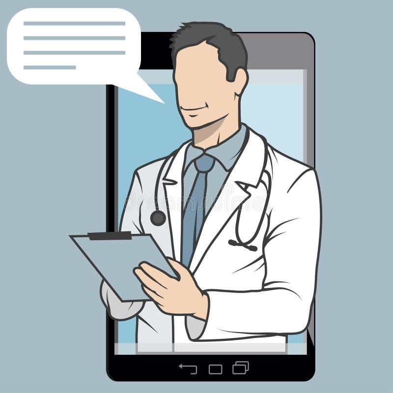 Médecin en ligne, consultation en ligne et appui, emblème mobile de médecine, icône, symbole, illustration, vecteur, docteur en l illustration stock
