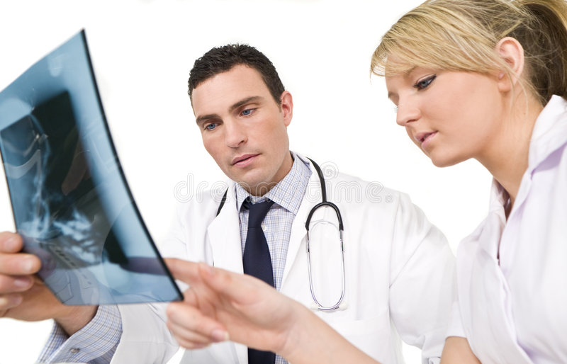 Médecin et infirmière intéressés images libres de droits