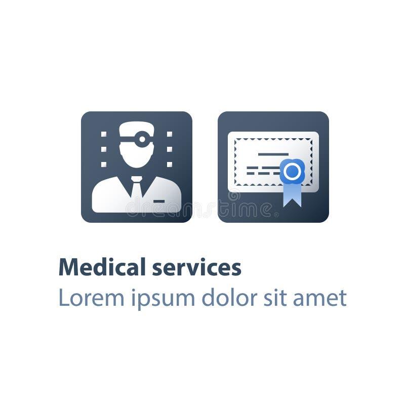 Médecin généraliste, concept médical d'éducation, certificat ou diplôme, degré de docteur, services de soins de santé illustration de vecteur