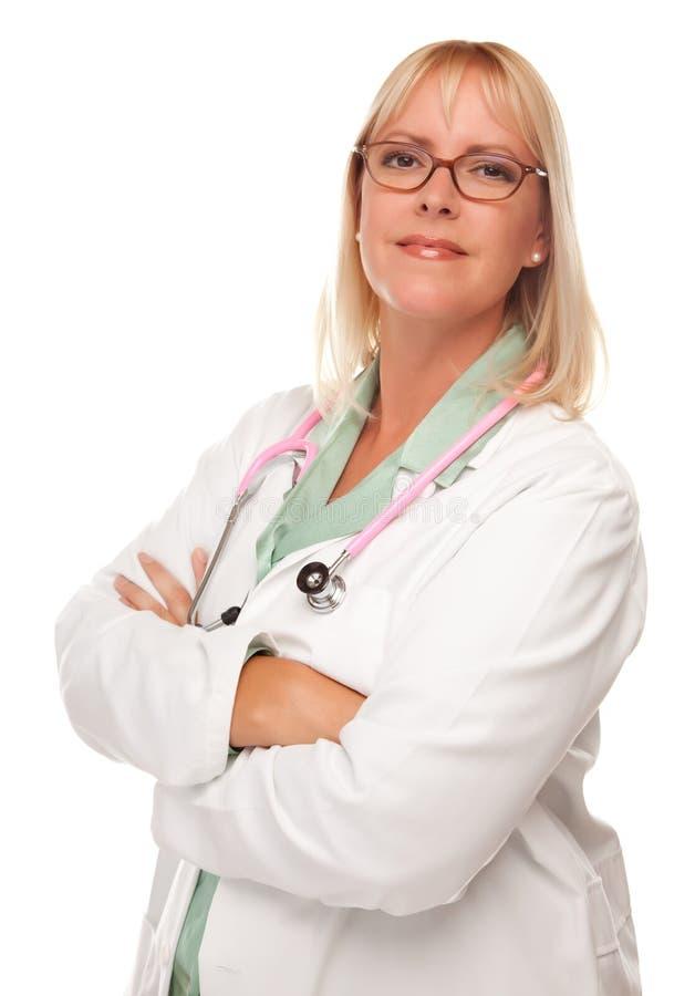 Médecin ou infirmière féminin attirant sur le blanc image stock