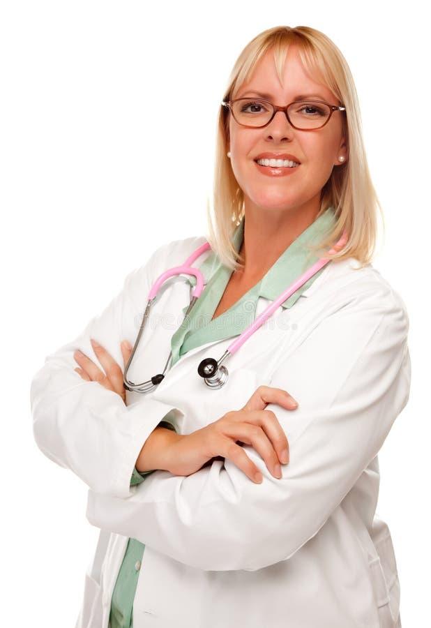 Médecin ou infirmière féminin attirant sur le blanc photos stock