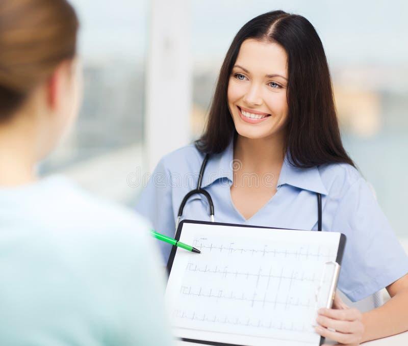 Médecin ou infirmière féminin montrant le cardiogramme photos libres de droits