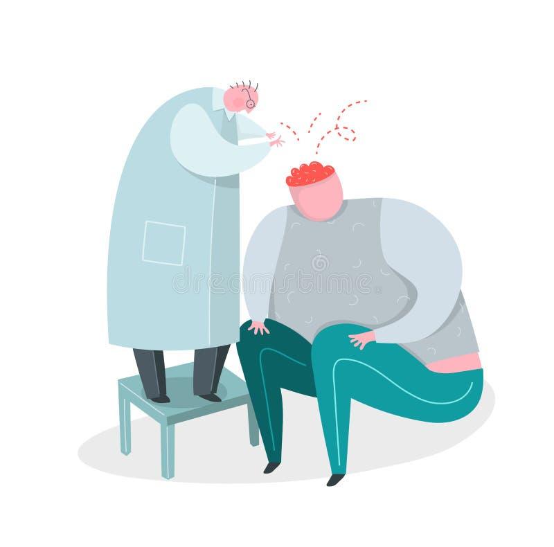 Médecin ou scientifique travaillant sur le cerveau ou l'esprit du patient mental illustration stock