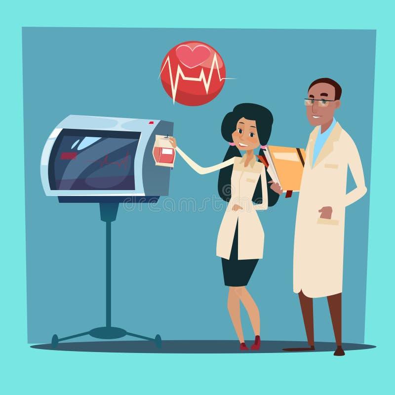 Médecin Team Man et cardiologue Analysis Cardiogram de femme illustration stock