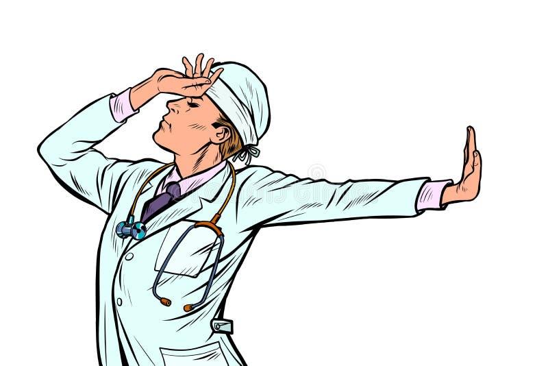 Médecine caucasienne d'homme de docteur geste de démenti de honte non illustration de vecteur