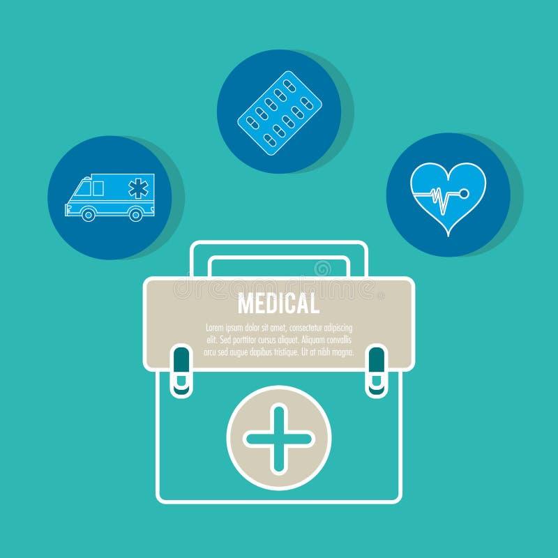 Médecine d'équipement de serviette de secours illustration stock