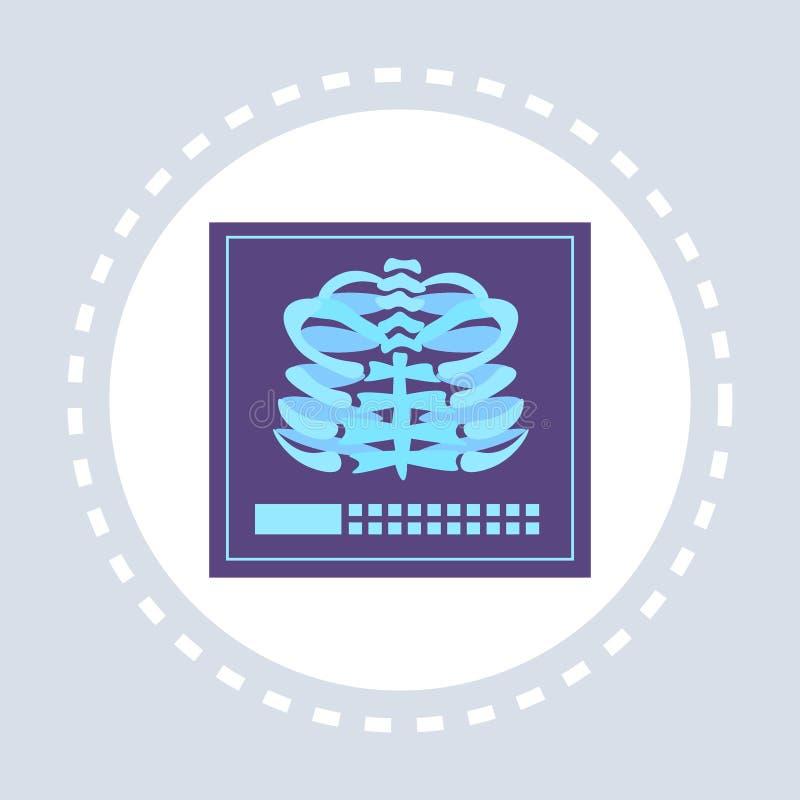 Médecine de logo de service médical de soins de santé d'icône de cage thoracique de rayon X d'anatomie et concept squelettiques d illustration stock
