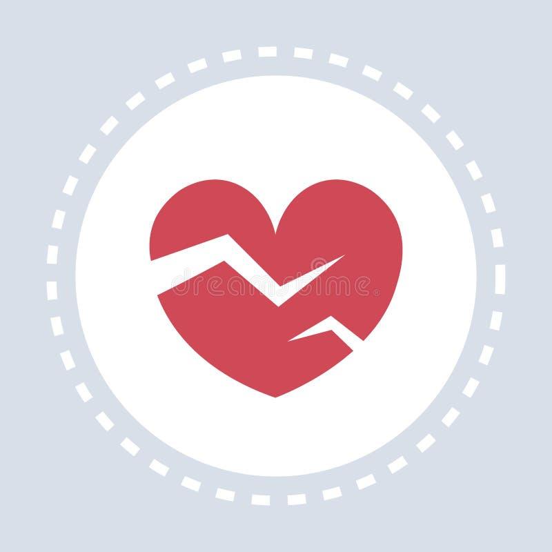 Médecine de logo de service médical de soins de santé d'icône du coeur brisé de immense chagrin et concept rouges de symbole de s illustration libre de droits