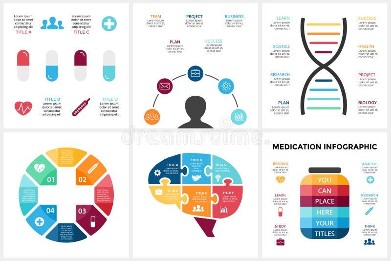 Médecine de vecteur infographic Calibre pour le diagramme d'esprit humain, graphique de soins de santé, présentation de docteur d illustration stock