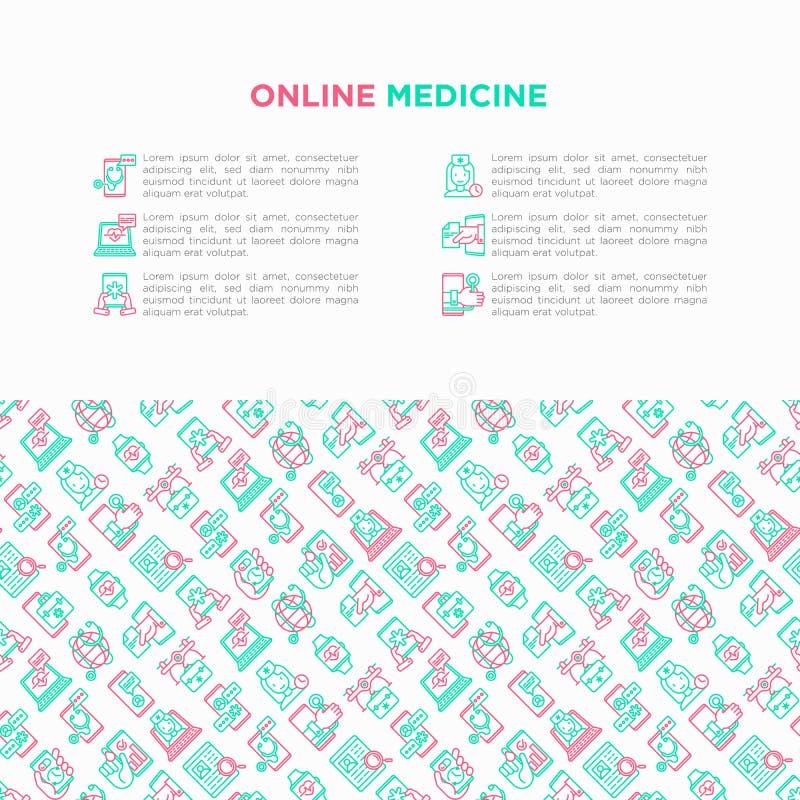 Médecine en ligne, concept de télémédecine avec la ligne mince icônes : minuterie de pilule, ambulance en ligne, bourdon médical, illustration libre de droits