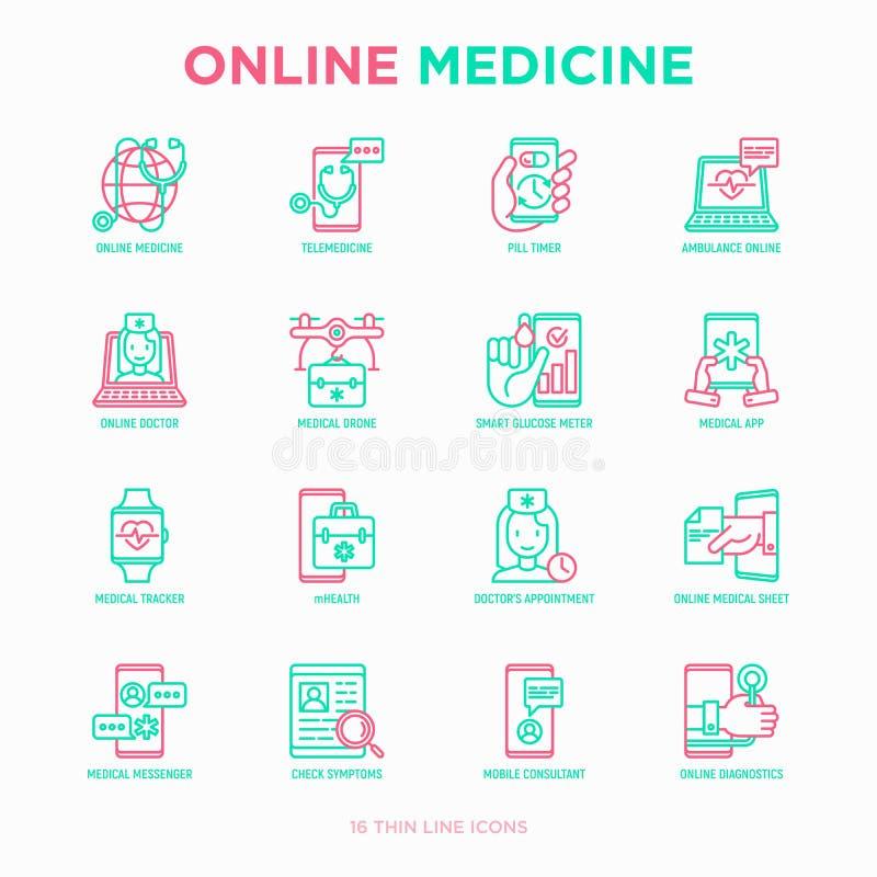 Médecine en ligne, ligne mince ensemble de télémédecine d'icônes : minuterie de pilule, ambulance en ligne, bourdon médical, traq illustration stock