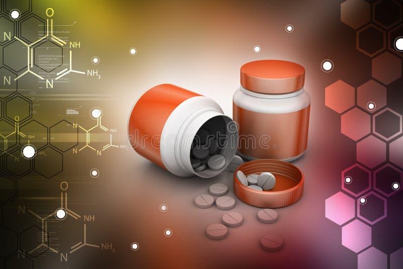 Médecine et bouteille en au sol de colorback illustration de vecteur