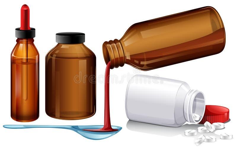 Médecine et comprimés liquides illustration libre de droits
