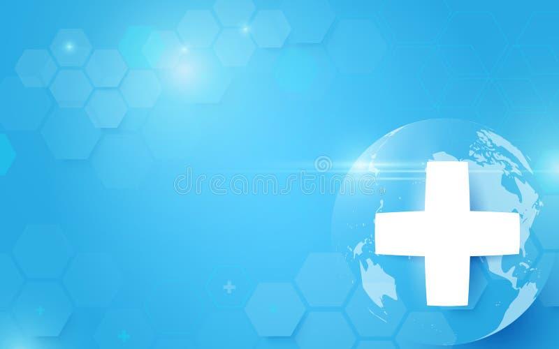 Médecine et science avec global Hexagones de pointe numériques abstraits sur le fond bleu illustration stock