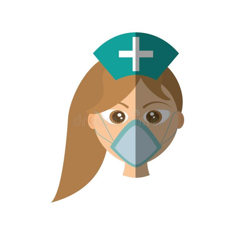médecine médicale de style de masque femelle de docteur illustration stock