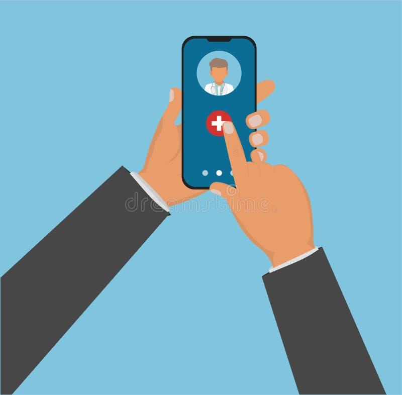 Médecine mobile, mhealth, docteur en ligne Main tenant le smartphone avec l'APP médical Illustration plate de vecteur illustration libre de droits