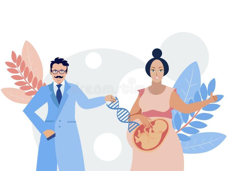 Médecine moderne, modification de gène Le docteur met les gènes nécessaires dans l'embryon illustration stock
