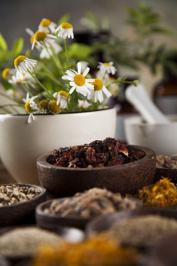 Médecine naturelle, herbes, mortier sur le fond en bois de table images stock