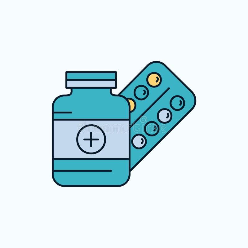 médecine, pilule, capsule, drogues, icône plate de comprimé signe et symboles verts et jaunes pour le site Web et l'appliation mo illustration de vecteur