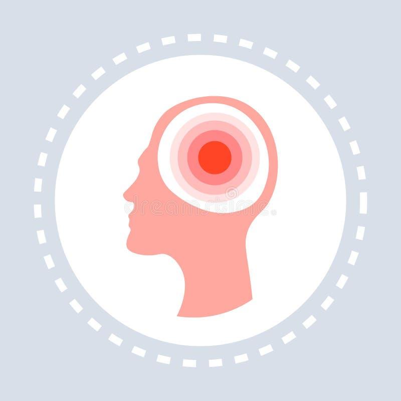 Médecine principale humaine de logo de service médical de soins de santé d'icône de concept de mal de tête de migraine et symbole illustration stock