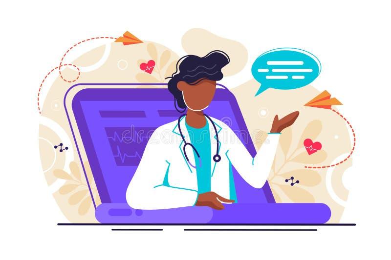 Médecine télé- en ligne illustration de vecteur