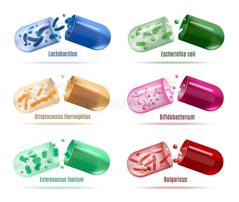 Médecines avec l'ensemble de vecteur de bactéries de Probiotics photographie stock
