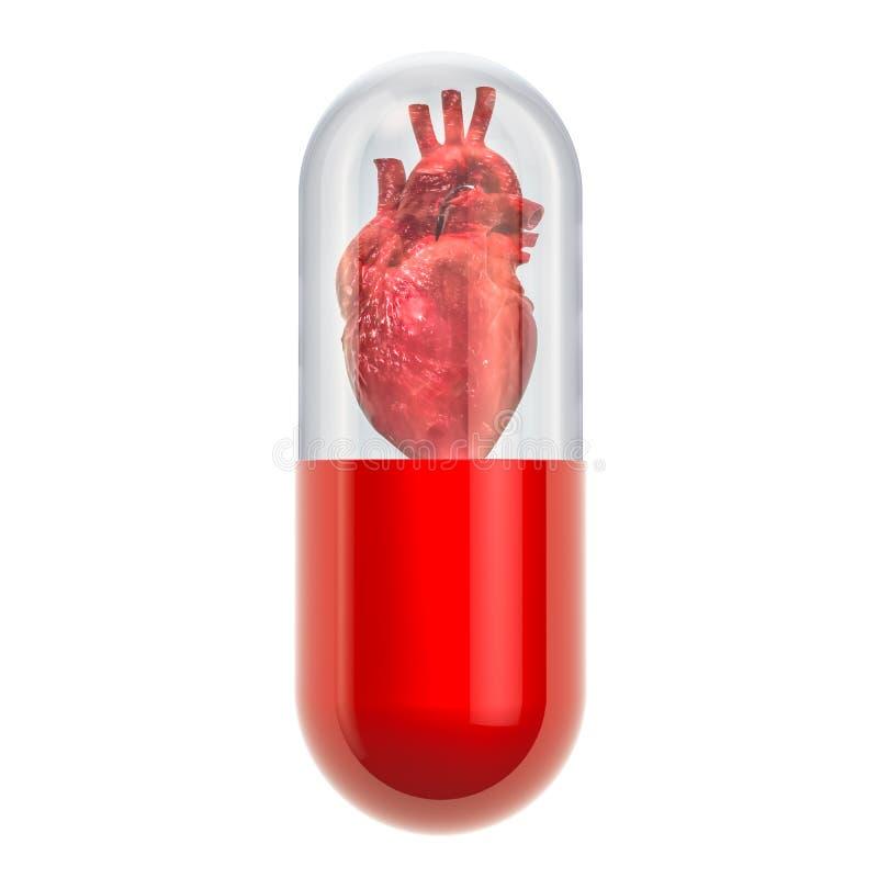 Médecines pour le concept de maladie cardiaque, rendu 3D illustration de vecteur