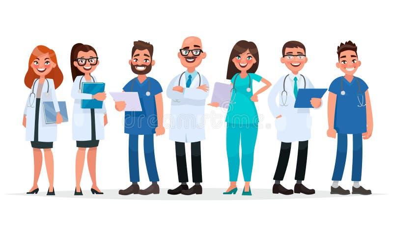 médecins Équipe de travailleurs médicaux sur un fond blanc Hôpital illustration de vecteur