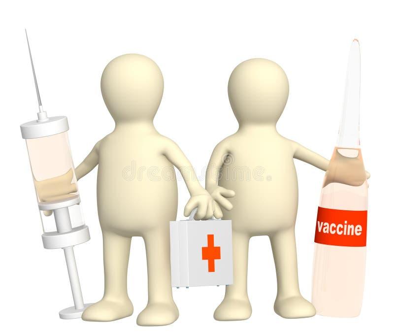 médecins 3d avec un vaccin illustration de vecteur