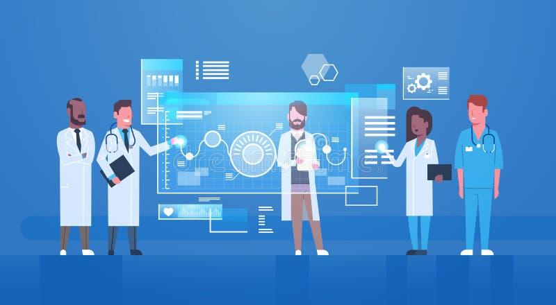 Médecins boutons-poussoirs sur le traitement virtuel de médecine d'écran de Digital de concept innovateur moderne de technologie illustration stock