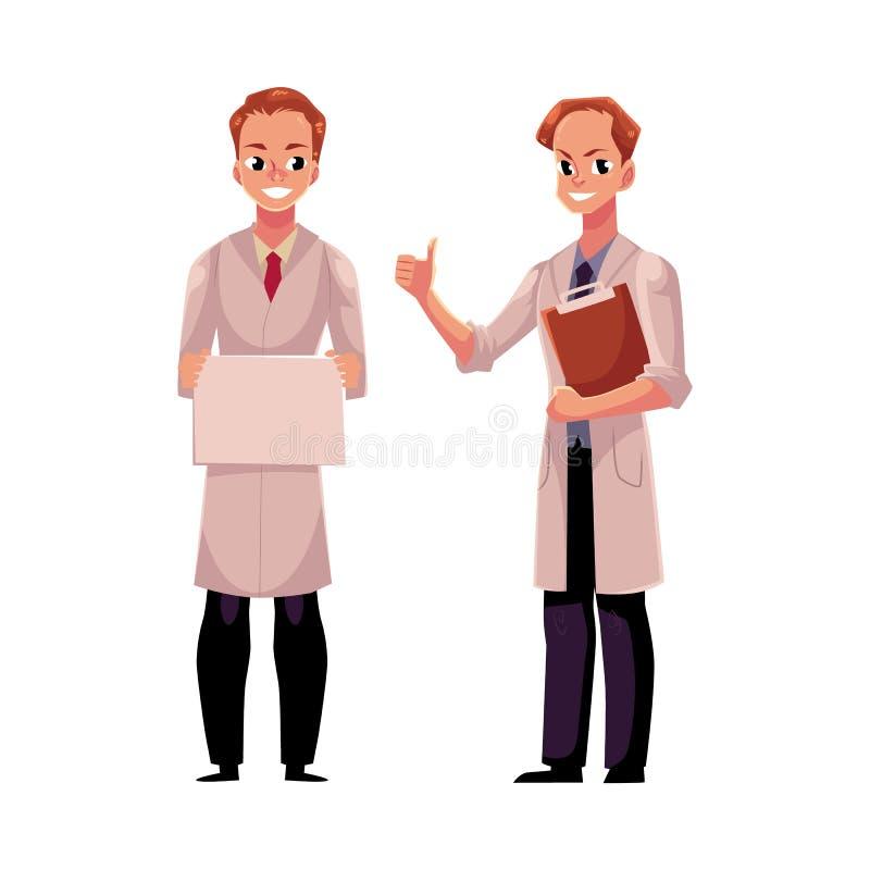 Médecins dans des manteaux médicaux, tenant le signe vide, montrant le pouce  illustration de vecteur