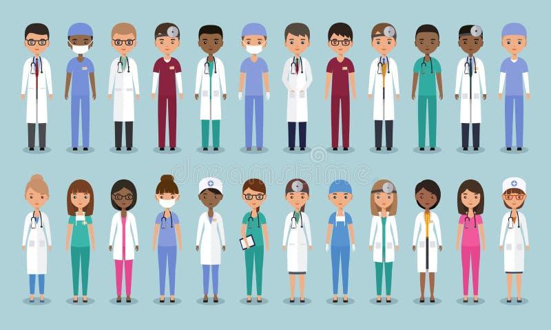 Médecins dans la conception plate Caractères médicaux animés Illu de vecteur illustration libre de droits