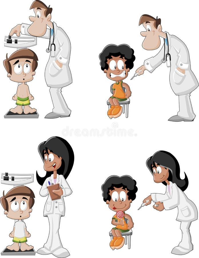 Médecins de bande dessinée vérifiant le garçon illustration libre de droits