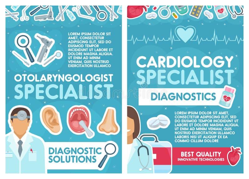 Médecins de cardiologie et d'oto-rhino-laryngologie de vecteur illustration de vecteur