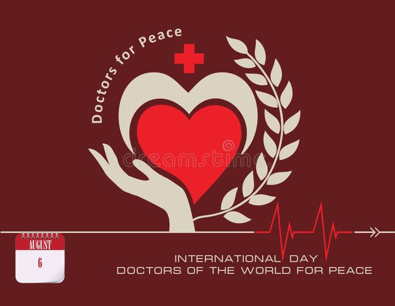 Médecins de carte postale de monde pour la paix illustration de vecteur