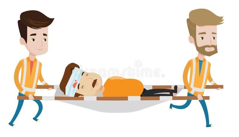 Médecins de secours portant l'homme sur la civière illustration stock