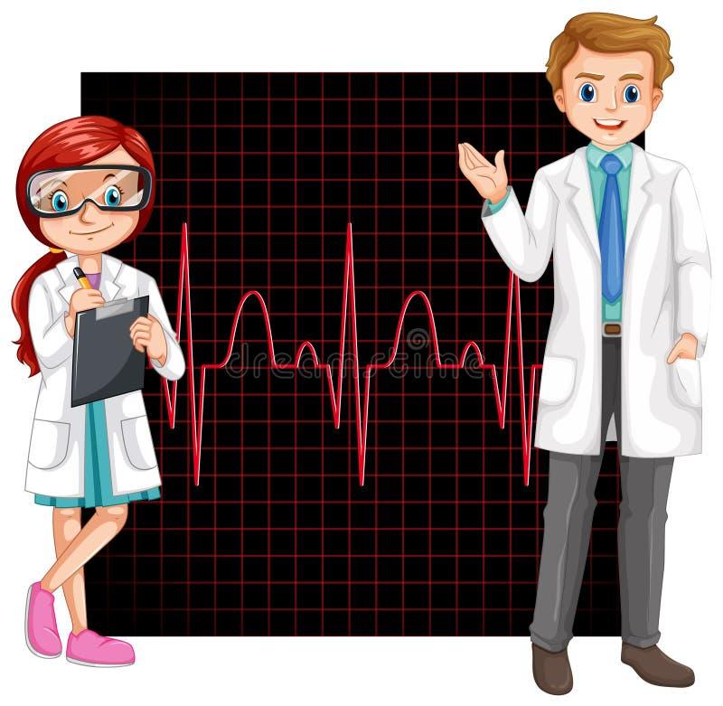 Médecins et graphique électronique illustration stock