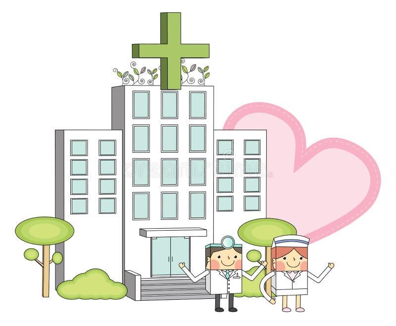 Médecins et infirmières et illustrations au trait de concept d'hôpital illustration de vecteur