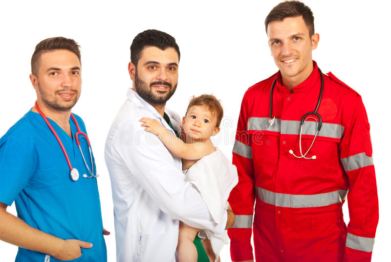 Médecins heureux avec le bébé garçon images libres de droits