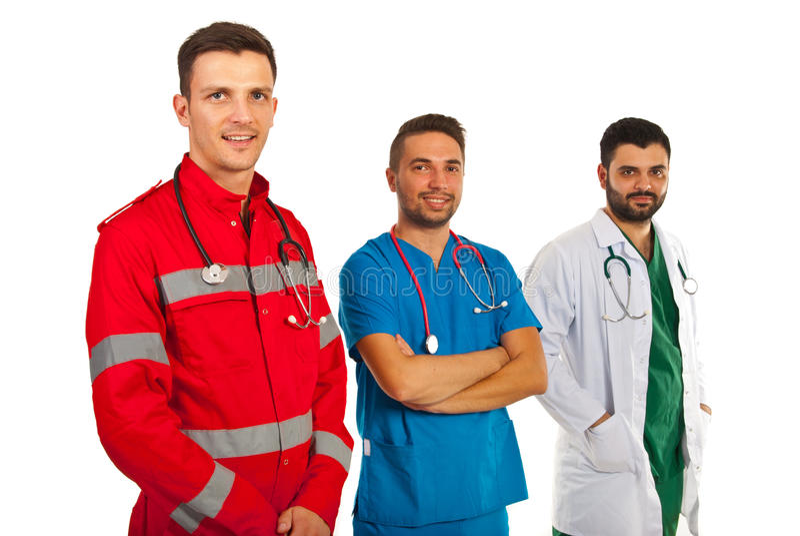 Médecins heureux dans une rangée photos libres de droits