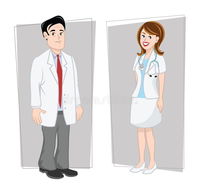 Médecins mâles et femelles illustration libre de droits