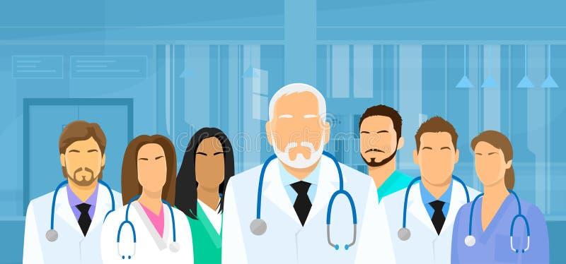 Médecins médiaux Team Hospital Flat de groupe illustration de vecteur