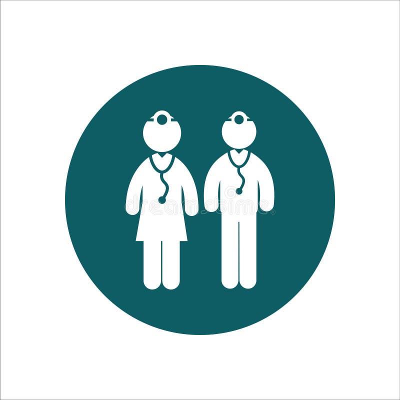 Médecins masculins d'Ilustration de vecteur d'icône de santé et médecins féminins illustration libre de droits