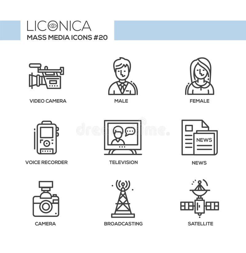 Médias - ligne simple moderne monochromatique icônes réglées illustration stock