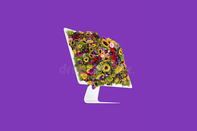 Médias sociaux d'écran de fleur d'ordinateur images stock