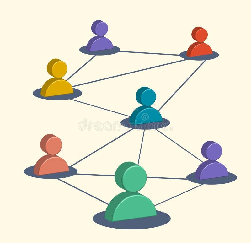 Médias sociaux d'affaires, symboles de commercialisation, réseau d'utilisateur illustration de vecteur