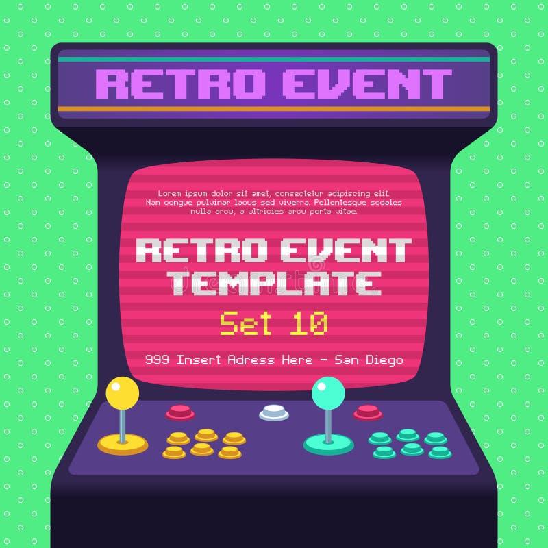 Médias sociaux de rétro de jeu affichage d'Arcade Old Classic 80s 90s illustration libre de droits