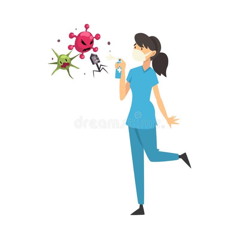 Médica feminina em máscara médica mata vírus com ilustração do vetor de desenho animado de balão ilustração royalty free