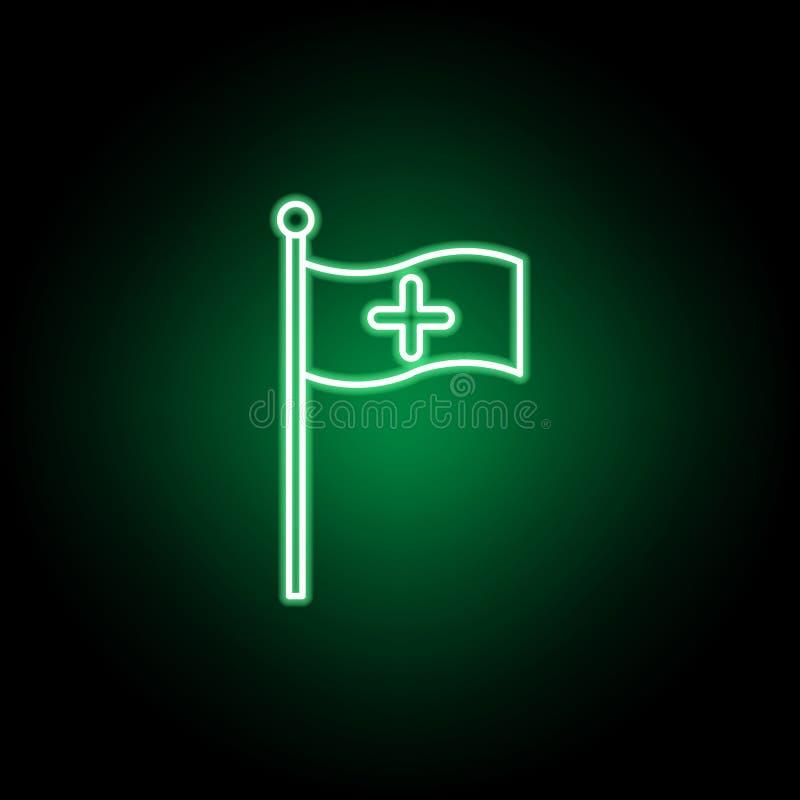Médical, icône de drapeau dans le style au néon ?l?ment d'illustration de m?decine Des signes et l'ic?ne de symboles peuvent ?tre illustration de vecteur